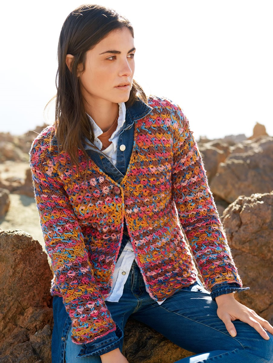 Lana Grossa JACKET IN DROP STITCH OPENWORK PATTERN Multi