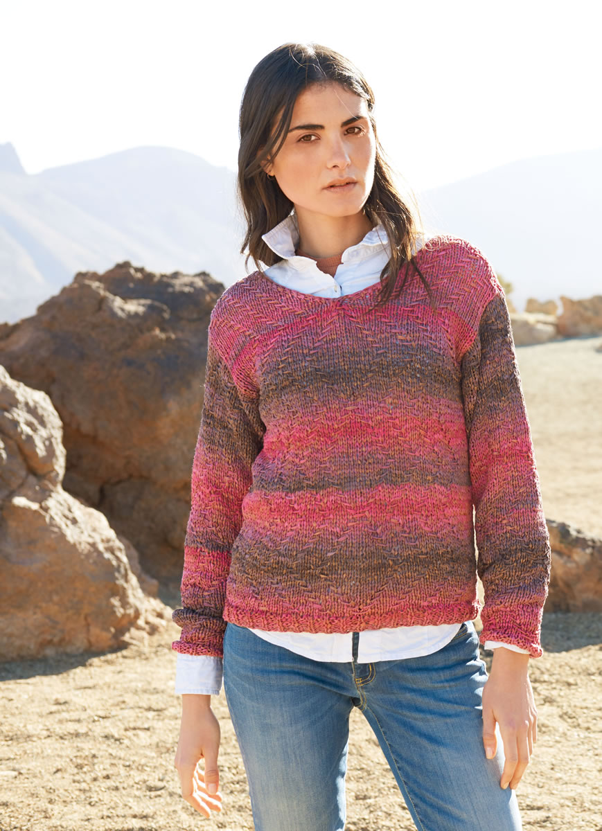 Lana Grossa Pullover In Slip Stitch Zigzag Pattern Roma Degradé