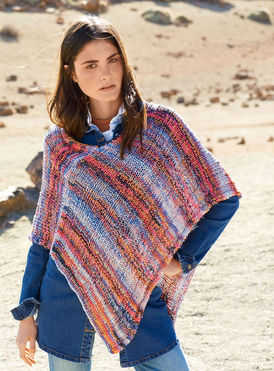 Lana Grossa PONCHO IN WIDE RIB PATTERN Allegro Print