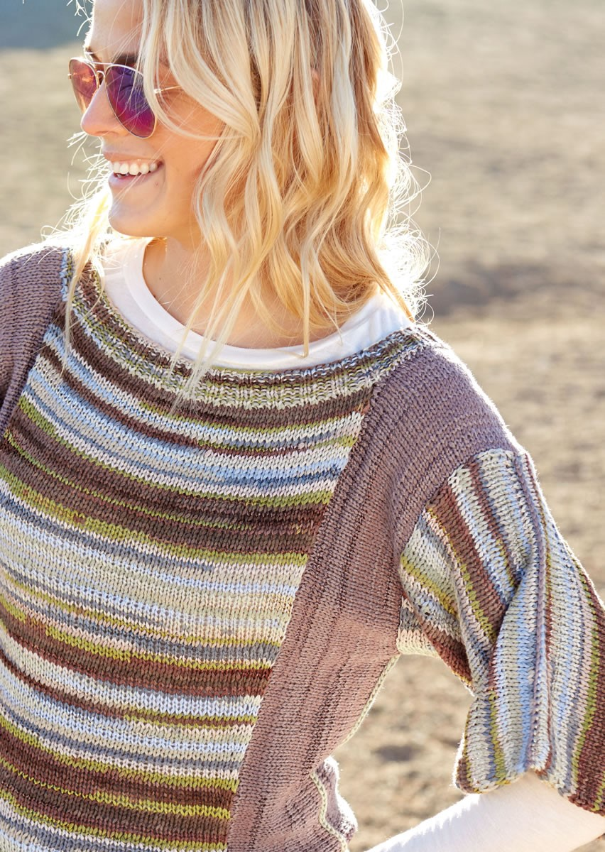 Lana Grossa STOCKINETTE PULLOVER WITH CONTRASTING SIDE GUSSETS Allegro Unito/Allegro Print