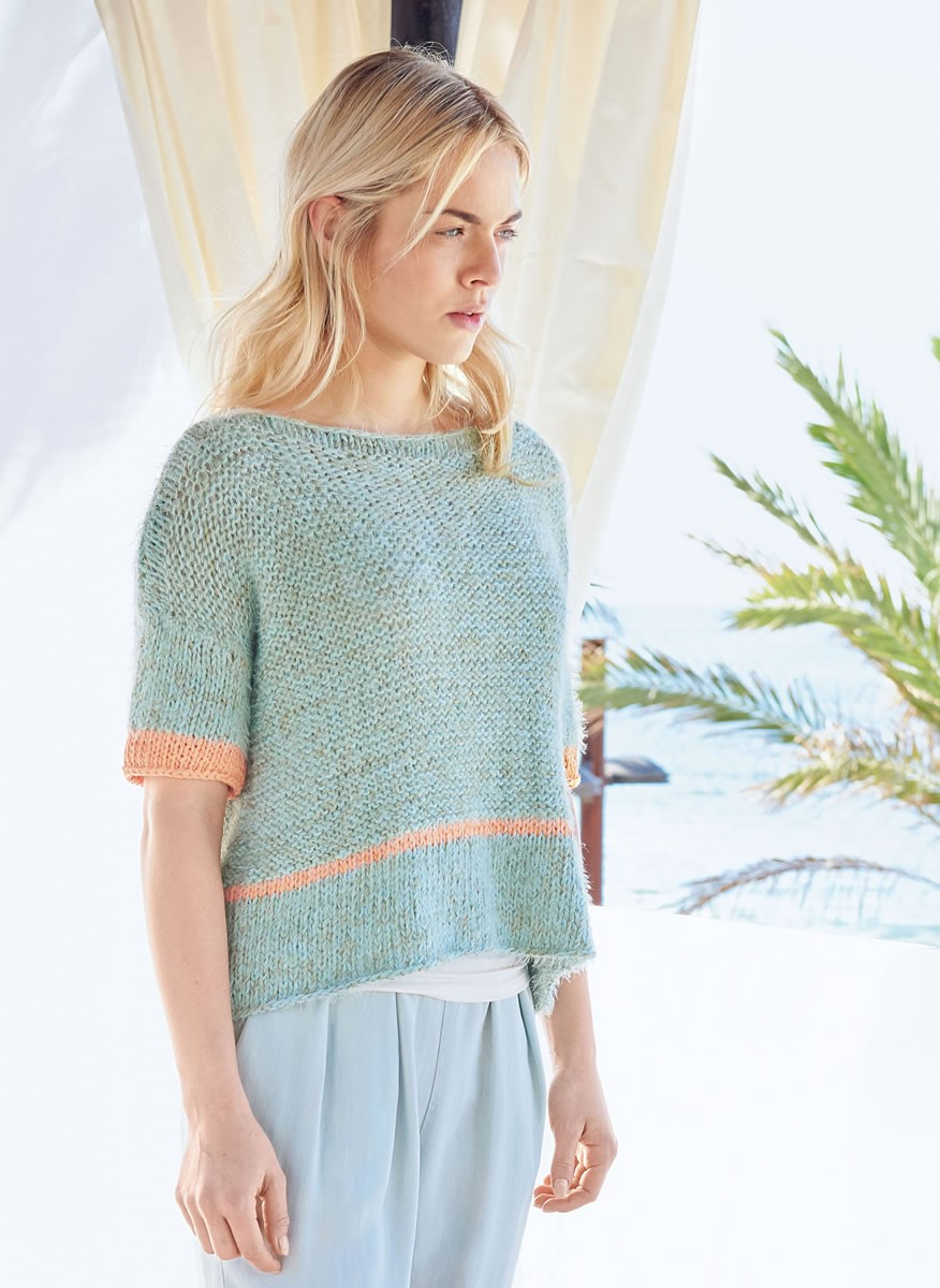 Lana Grossa BOXY PULLOVER IN STOCKINETTE AND REVERSE STOCKINETTE Doppio/Estivo II