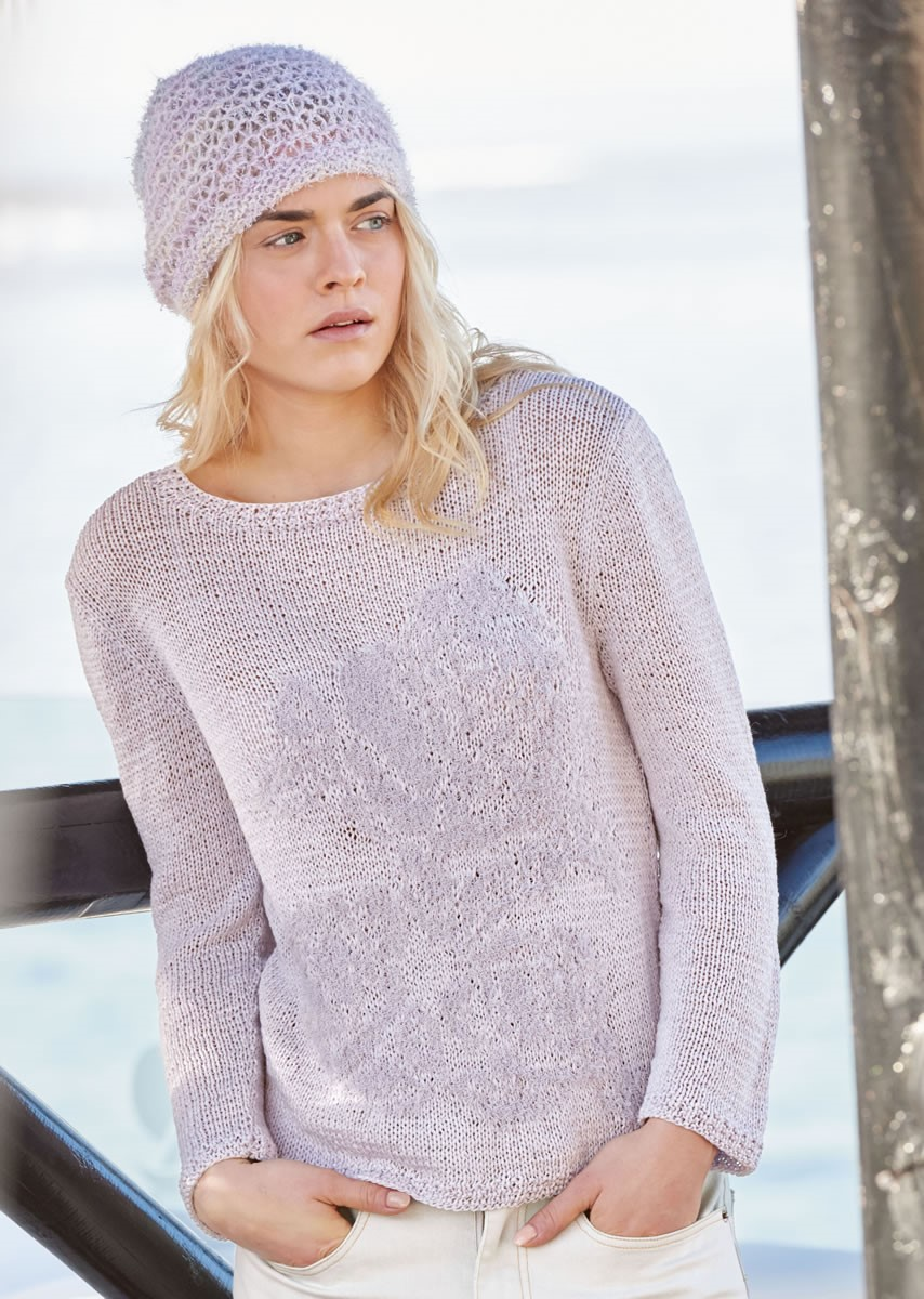 Lana Grossa PULLOVER WITH ROSE MOTIF Lavato/Gallina