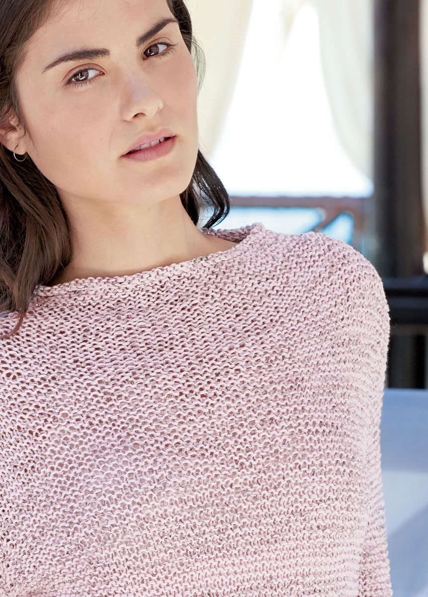 Lana Grossa GARTER STITCH PULLOVER WITH ROLLED EDGES AND FUNNEL NECK Folio