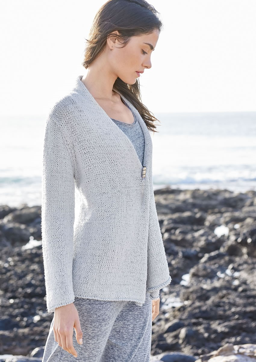 Lana Grossa FLUTTER-FRONT JACKET IN STOCKINETTE 365 Cashmere/Secondo