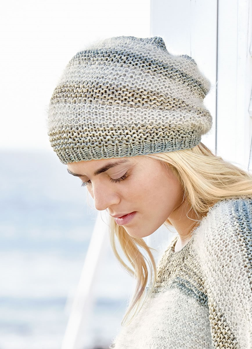 Lana Grossa GARTER STITCH HAT WITH CONTRASTING STRIPES Roma Degradè/Estivo II