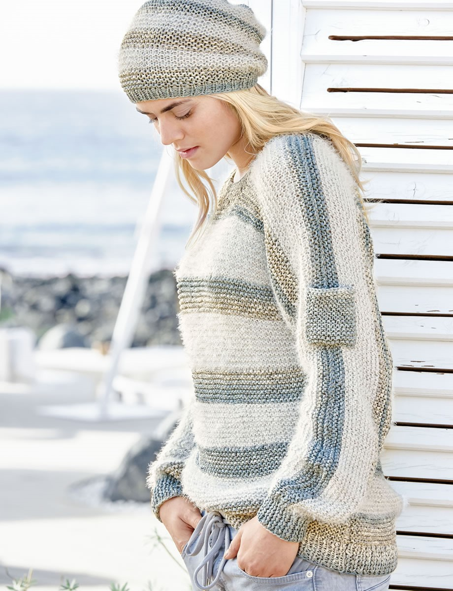 Lana Grossa GARTER STITCH PULLOVER WITH CONTRASTING STRIPES Roma Degradè/Estivo II