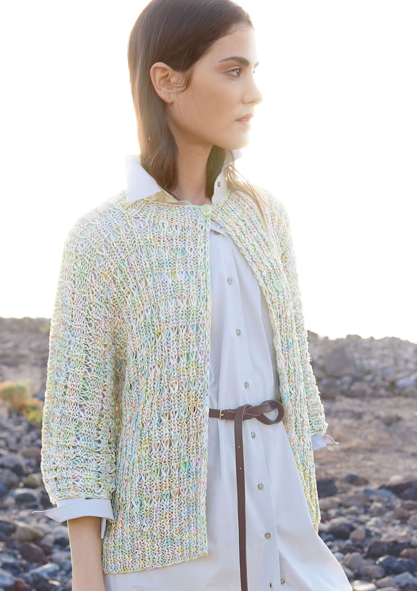 Lana Grossa JACKET IN RIBBED DROP STITCH PATTERN Dacapo Multi FILATI No. 51...