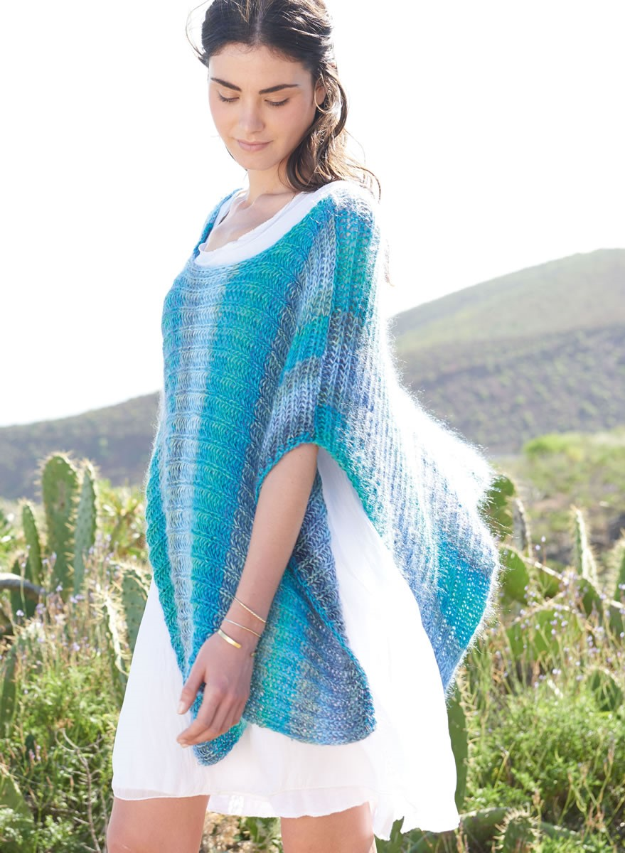 Lana Grossa CAPE IN SHAKER RIB Di Moda/Silkhair Print