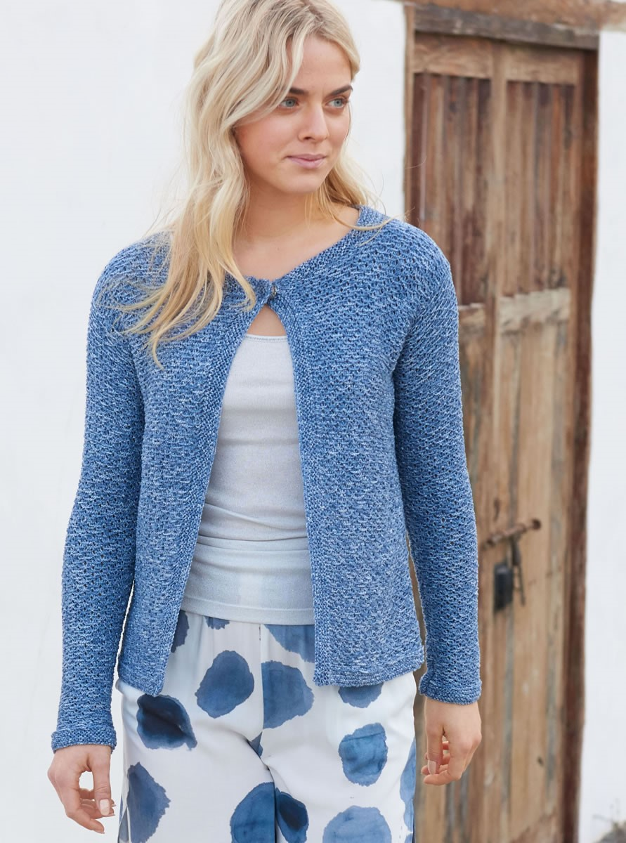 Lana Grossa JACKET IN SLIP STITCH PATTERN Denim