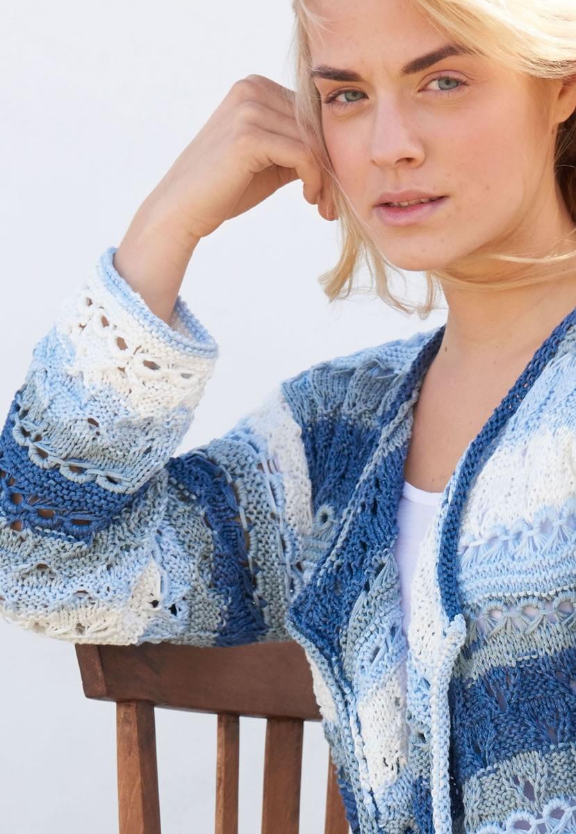 Lana Grossa JACKET IN DROP STITCH OPENWORK AND LACE PATTERN Di Moda