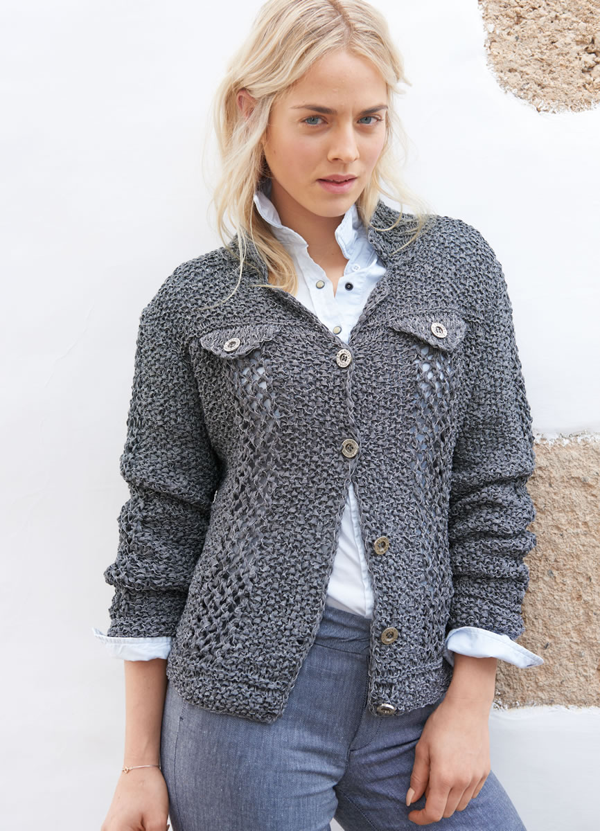Lana Grossa SEED STITCH JACKET WITH LACE PANELS Lunare | FILATI No ...