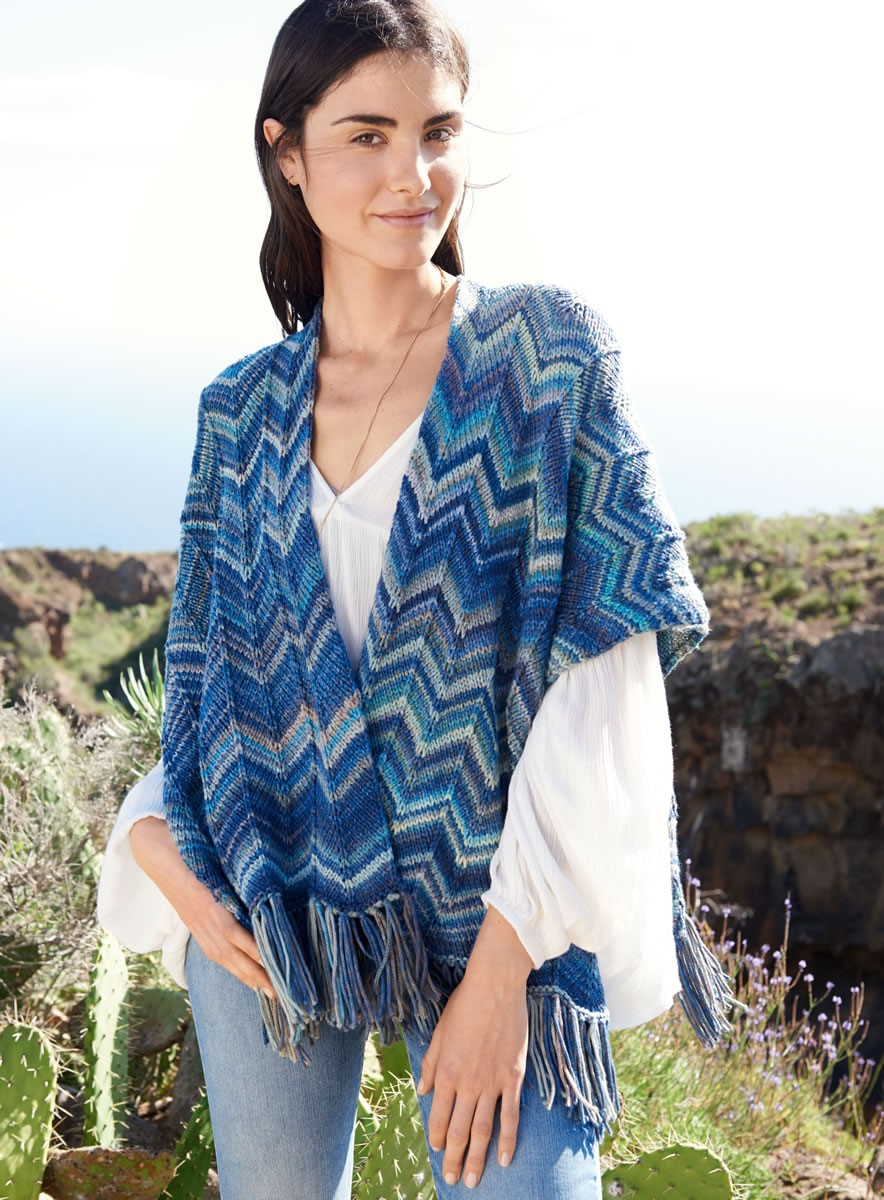 Lana Grossa CAPE IN CHEVRON PATTERN Multi