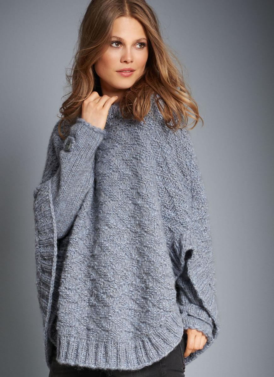 Merino Cape Knitting Pattern : Lana Grossa PONCHO PULLOVER Yak Merino FILATI No. 52 (Herbst/Winter 2016/17...