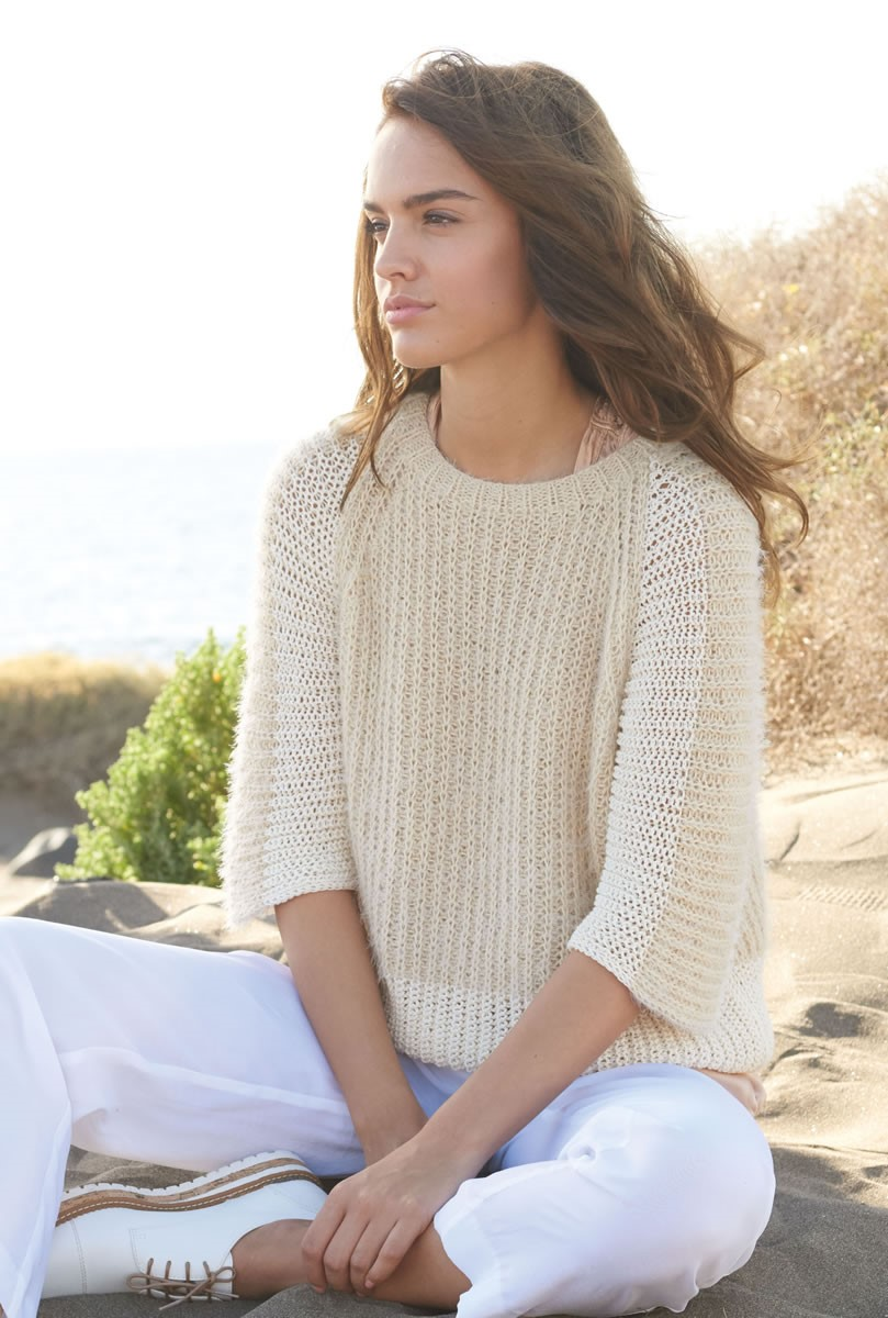 Lana Grossa PULLOVER IN FISHERMAN'S RIB Estivo II/Summer Lace