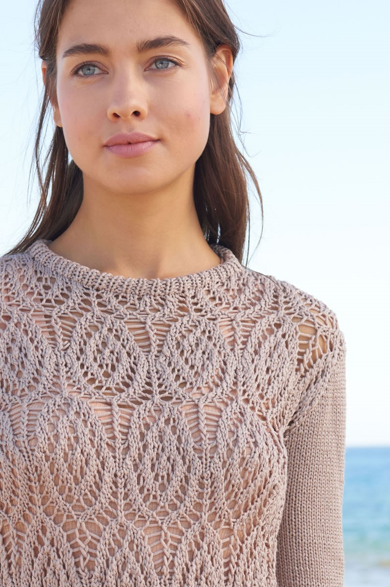 Lana Grossa PULLOVER WITH FRONT AND BACK IN FILIGREE PATTERN Seta