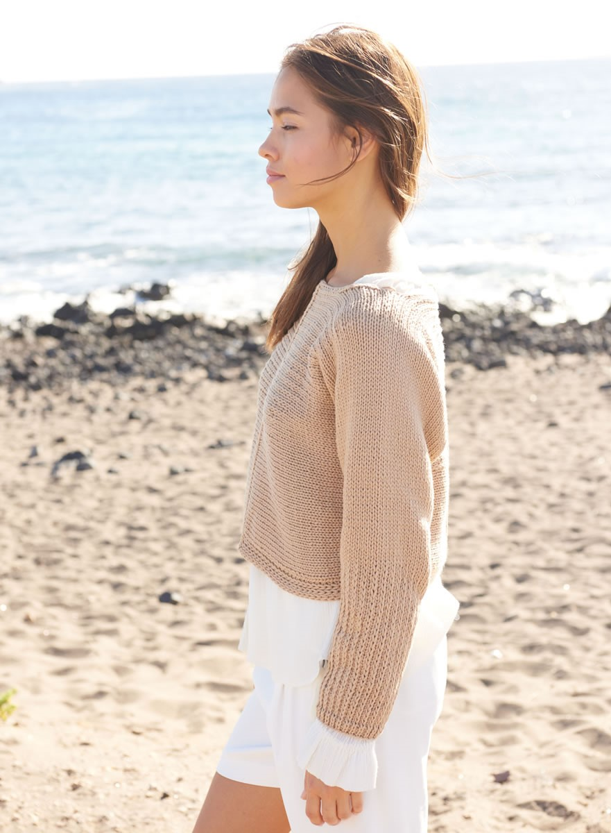 Lana Grossa SIDE-TO-SIDE PULLOVER WITH SLIP STITCH DETAIL Only Cotton