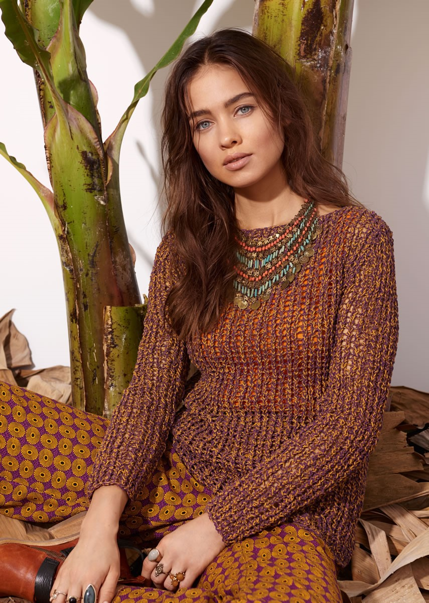Lana Grossa PULLOVER IN EYELET PATTERN Difuso/Secondo