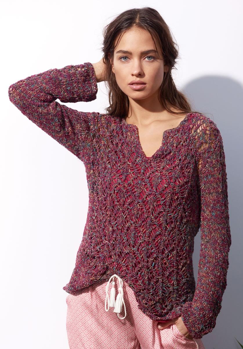 Lana grossa tunic in diamond lace pattern coco filati no 53 spring summer 2017 knitting - Lana grossa diva ...