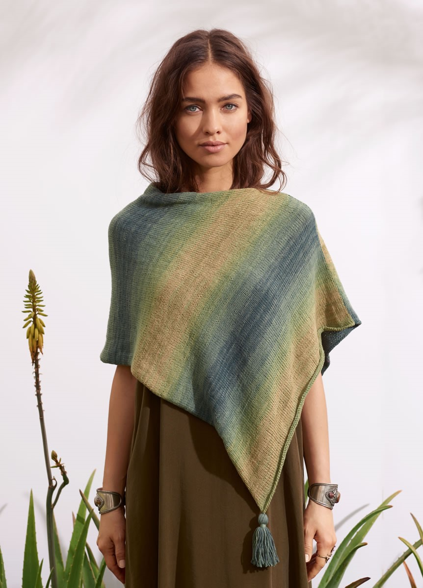 Lana Grossa PONCHO WITH TASSELS Summer Lace Dégradé