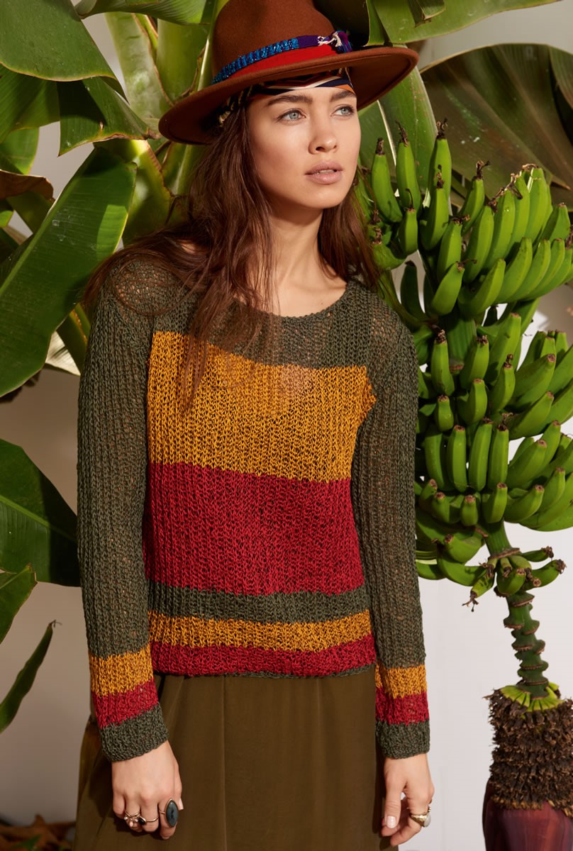 Lana Grossa STRIPED PULLOVER IN FISHERMAN'S RIB Difuso