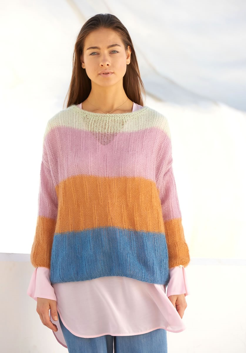Lana Grossa PULLOVER IN STAGGERED RIB PATTERN Silkhair