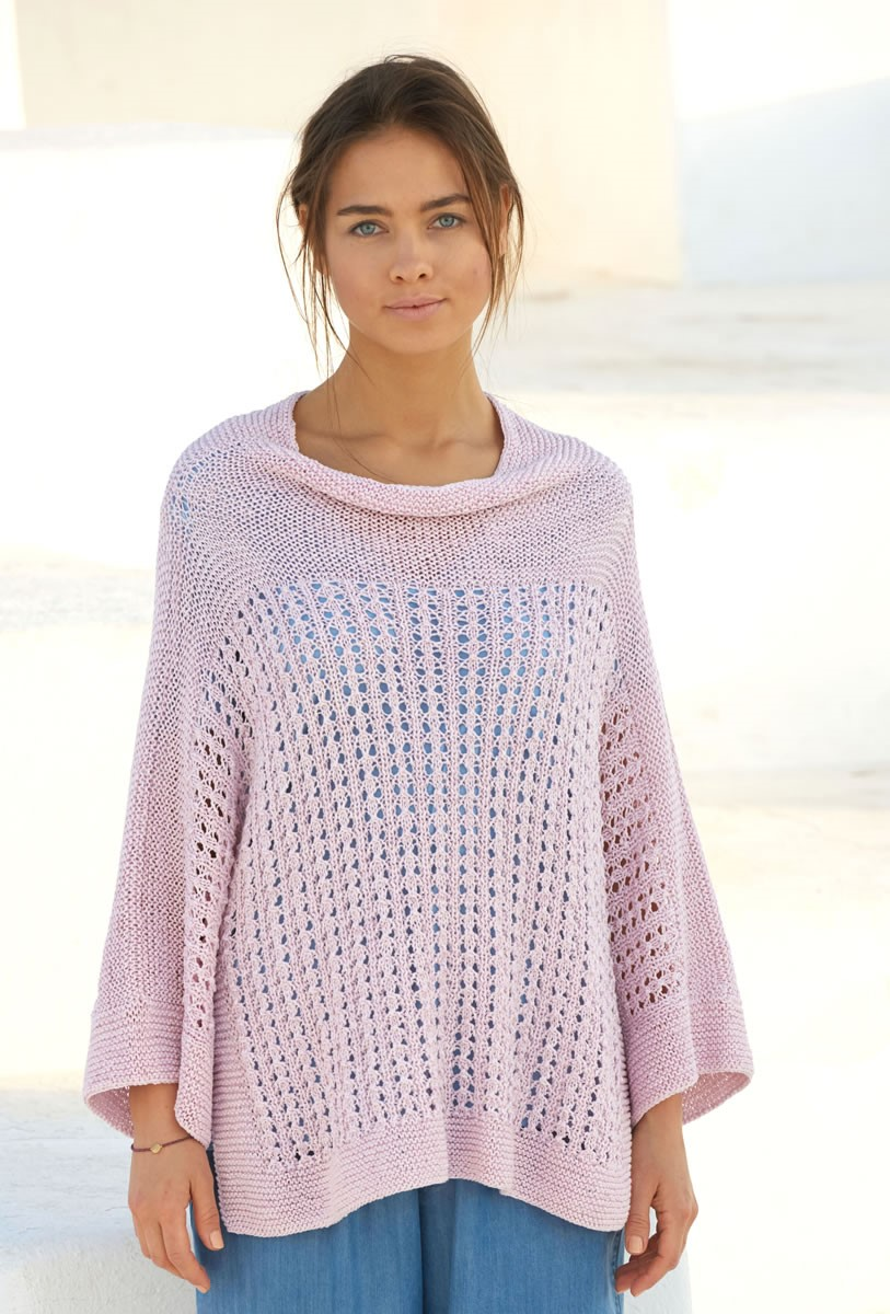 Lana Grossa PULLOVER IN GARTER STITCH AND EYELET PATTERN Lavato