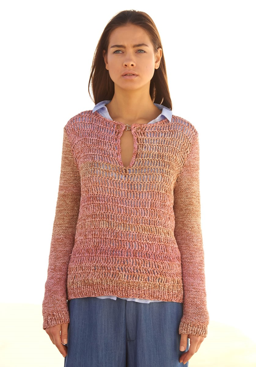 Lana Grossa PULLOVER WITH CROCHETED BODY AND REVERSE STOCKINETTE SLEEVES Roma Dégradé