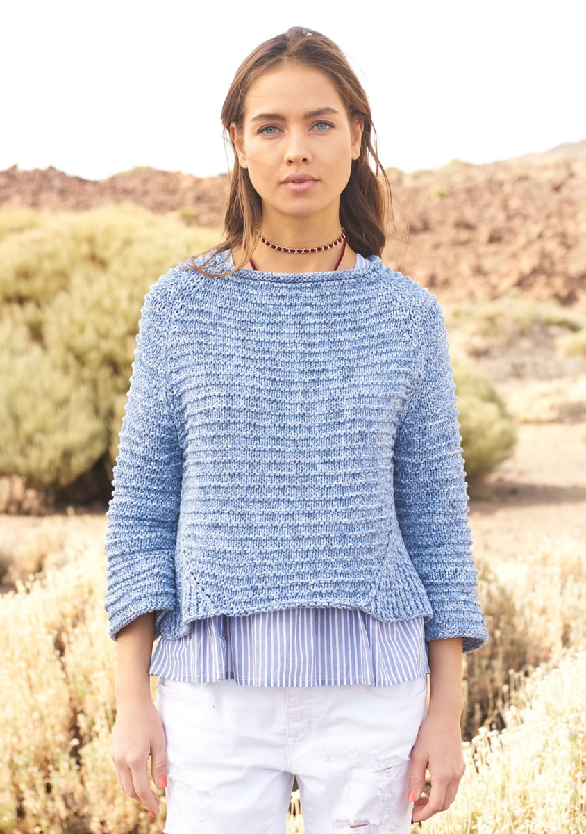 Lana Grossa RAGLAN PULLOVER IN RIDGE PATTERN Denim