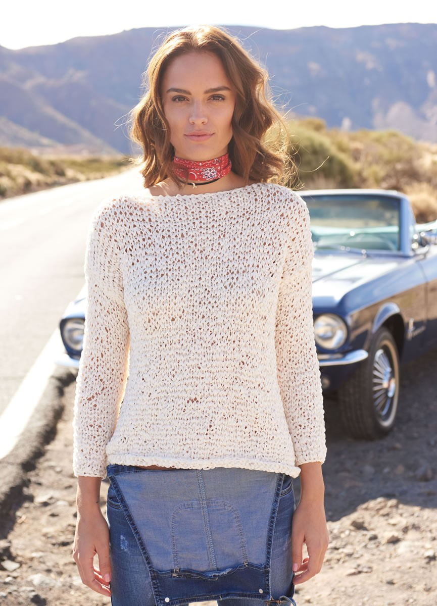 Lana Grossa PULLOVER IN ELONGATED STITCH PATTERN Lunare