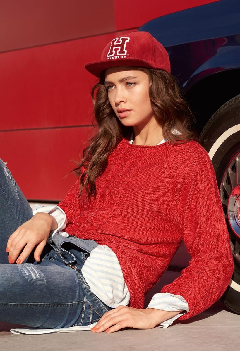 Lana Grossa RAGLAN PULLOVER WITH TUCK STITCH DETAIL 365 Cashmere