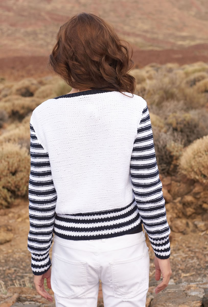 Lana Grossa PULLOVER WITH STRIPES AND CABLES Only Cotton