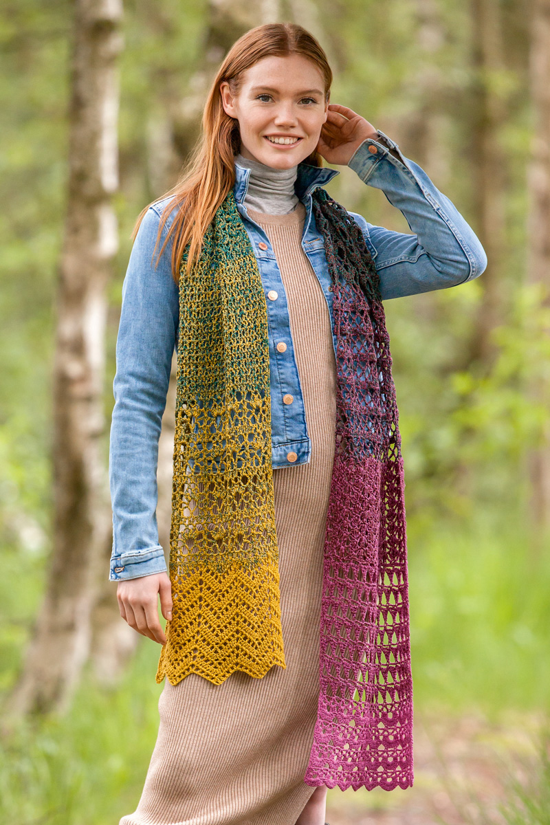 Lana Grossa Crochet Scarf Shades Of Merino Cotton Shades Knitting Instructions En Design 7 Filati Knitting Pattern Model Packages