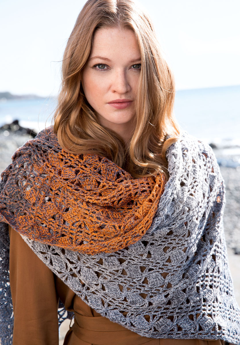 Lana Grossa Crocheted Stole Shades Of Merino Cotton Filati Tucher Co No 2 Knitting Instructions En Design 6 Filati Knitting Pattern Model Packages