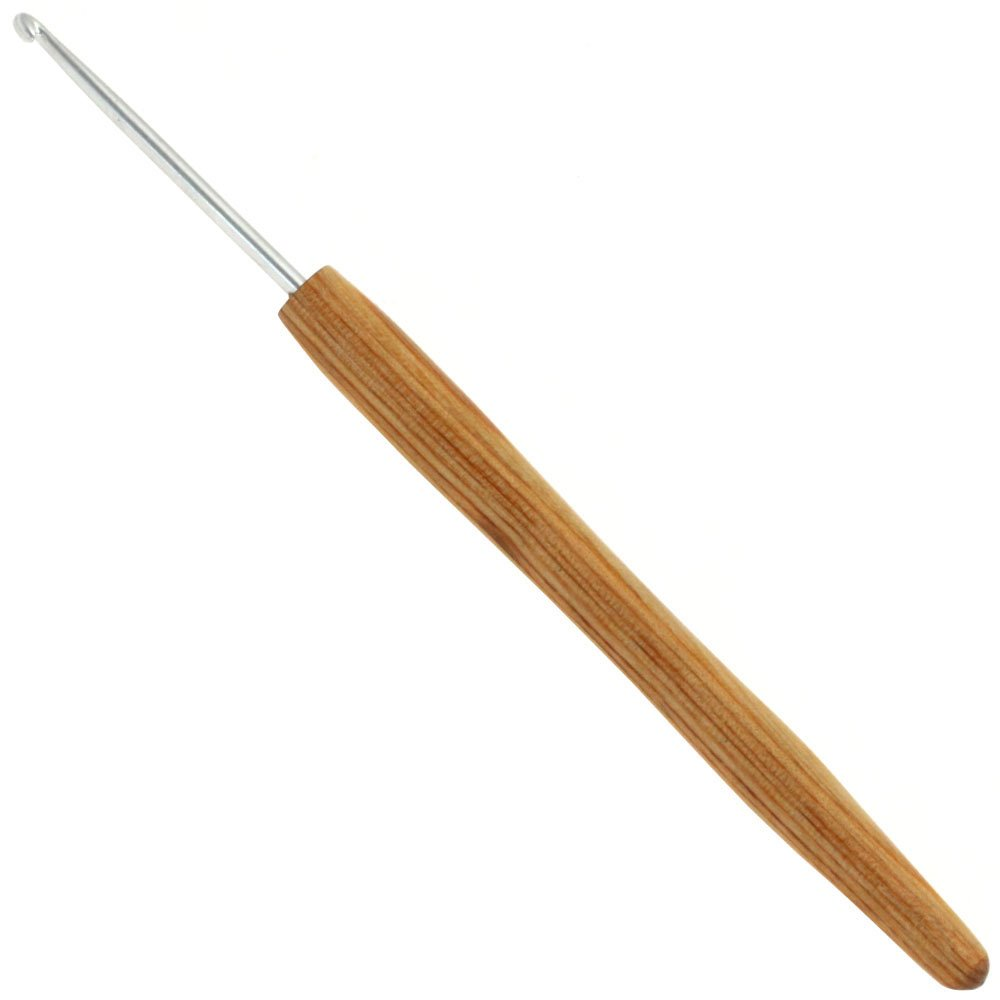 Lana Grossa Crochet hook aluminum with handle design-wood natural size 2,5